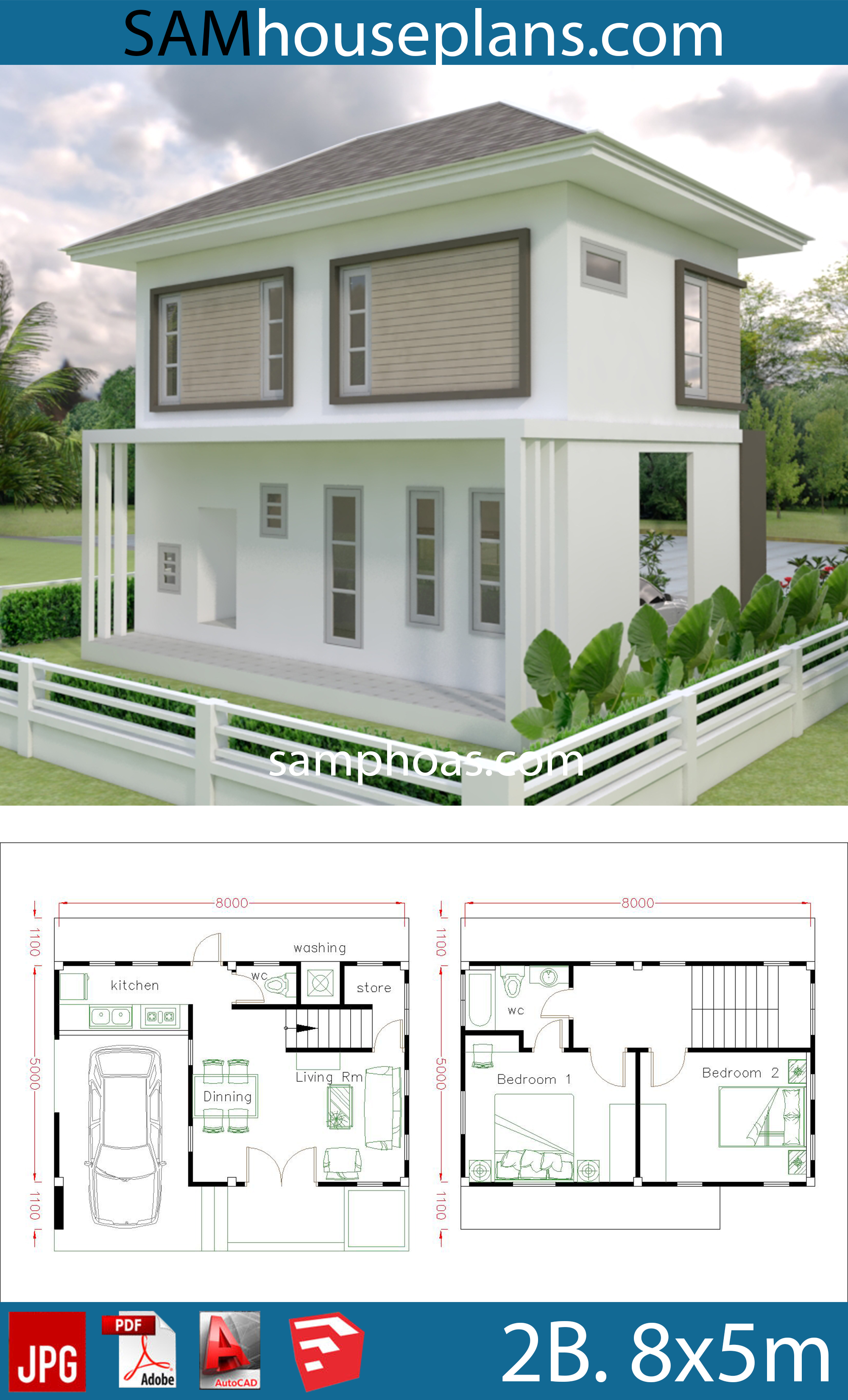 Small Home design Plan 8x5m with 2 bedrooms on beach house plans 2 bedroom, cottage house plans 2 bedroom, split level house plans 2 bedroom, contemporary house plans 2 bedroom, small house plans 2 bedroom, ranch house plans 2 bedroom,