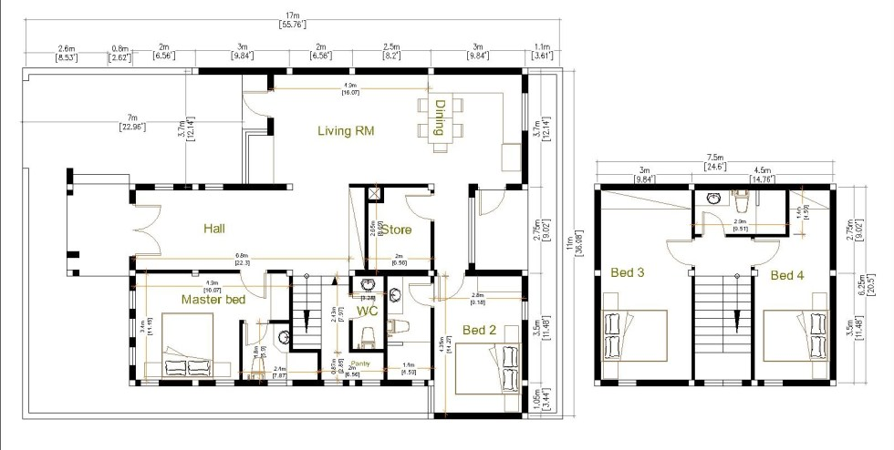 House Plans 11x17 with 4 Bedrooms