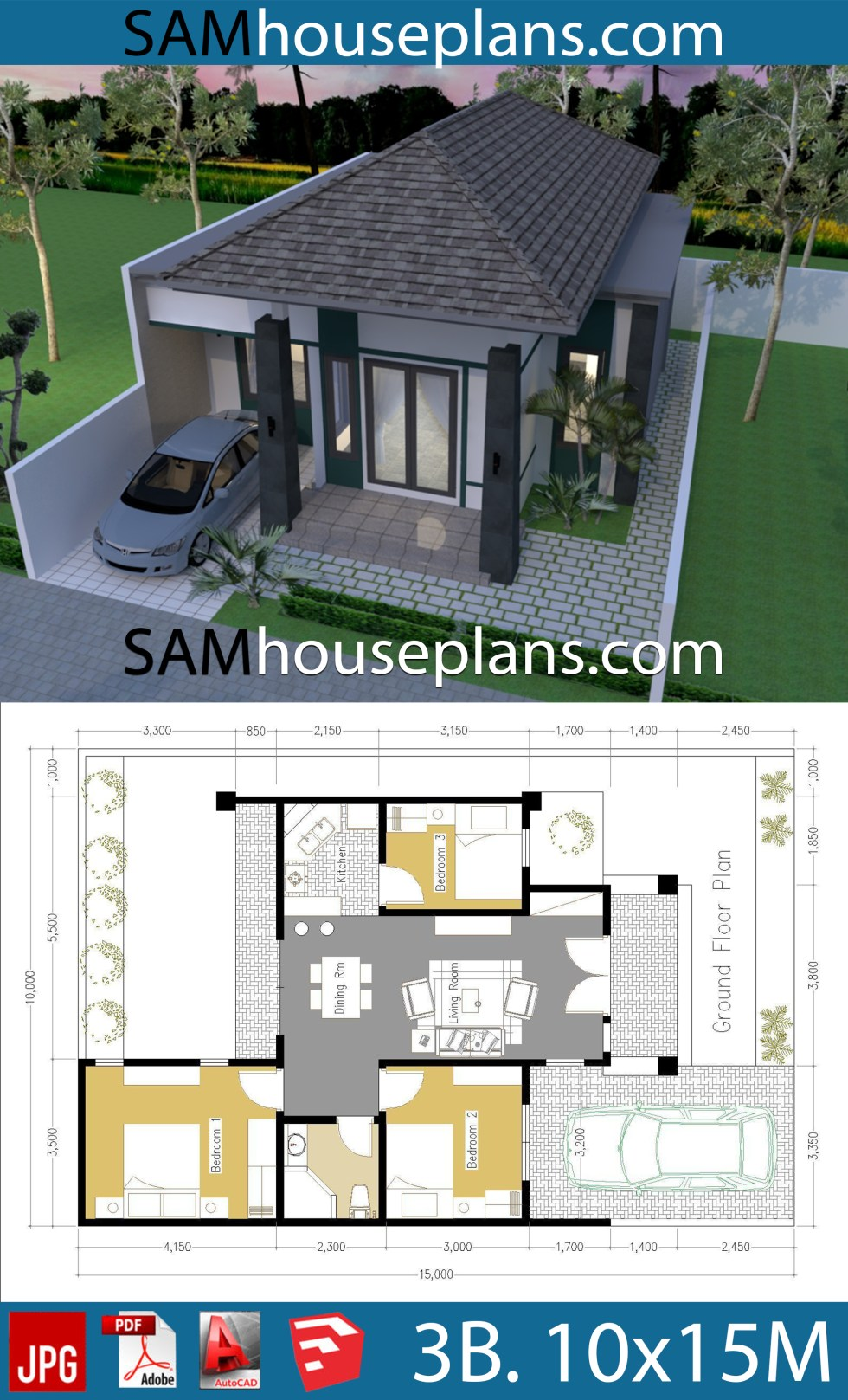 10x15 Room: House Plans 10x15 With 3 Bedrooms