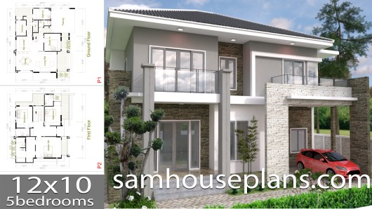 House Plans 12x10 with 5 Bedrooms