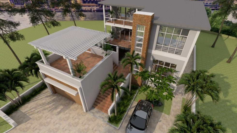 House Plans 13x19 with 4 Bedrooms 3d 4