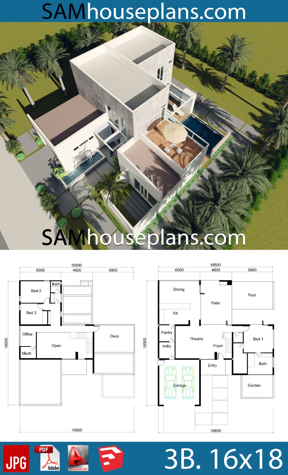 House Plans 16x18 with 3 Bedrooms