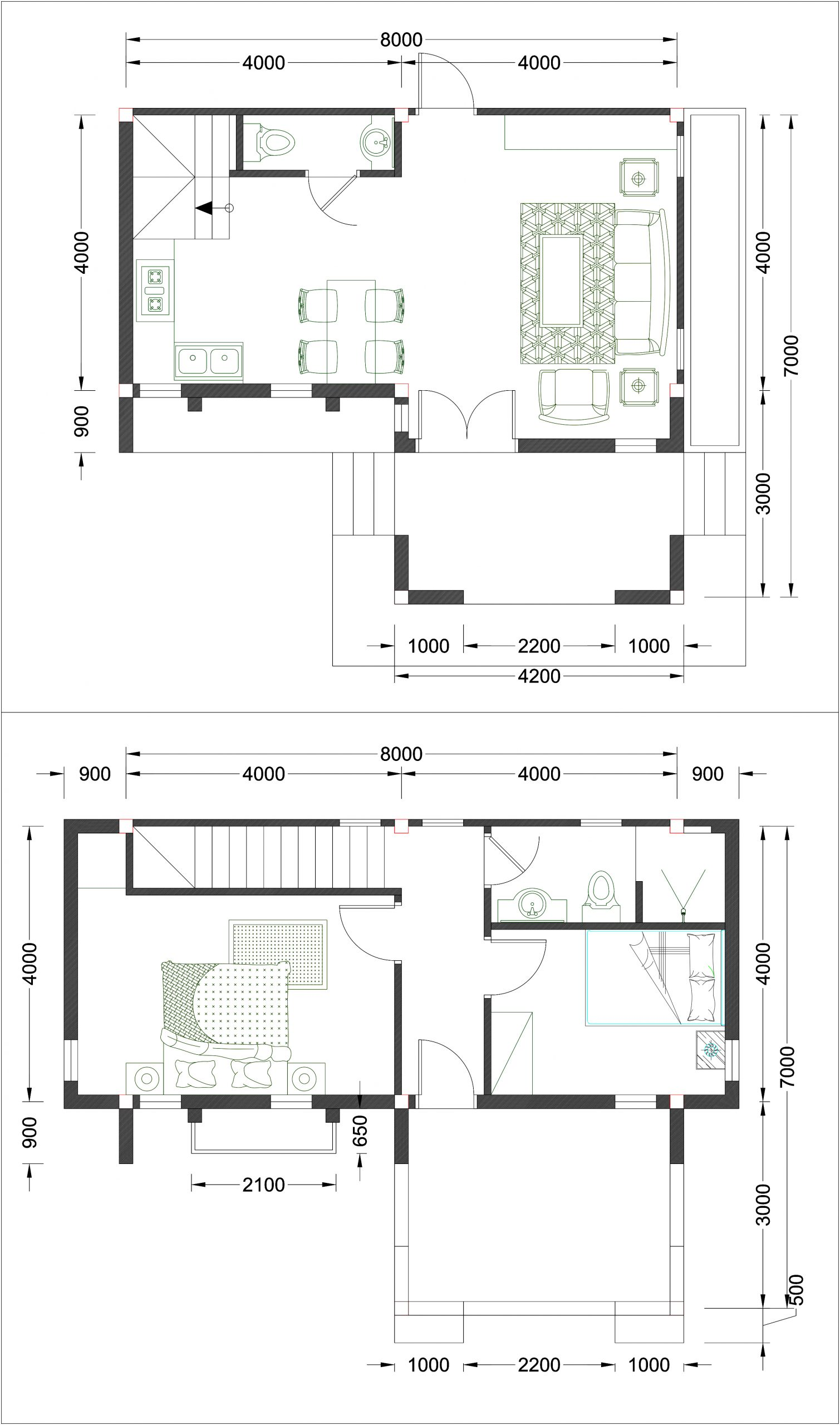 House Plans 8x7 with 2 Bedrooms floor plan