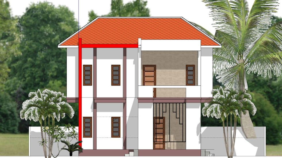 House Plans 8x7 with 2 Bedrooms front