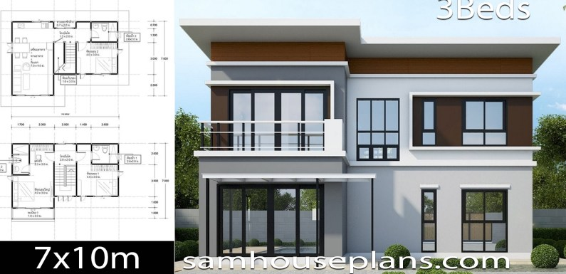 House Plans Idea 10×7 with 3 Bedrooms