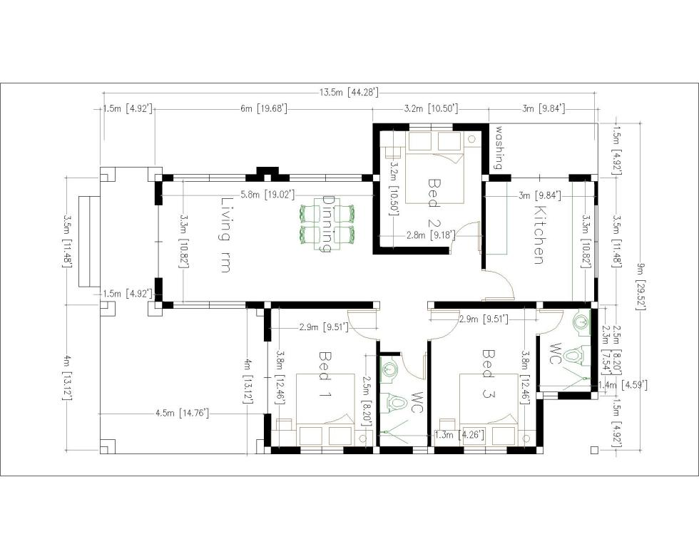 House Plans 9x13.5 with 3 Bedrooms