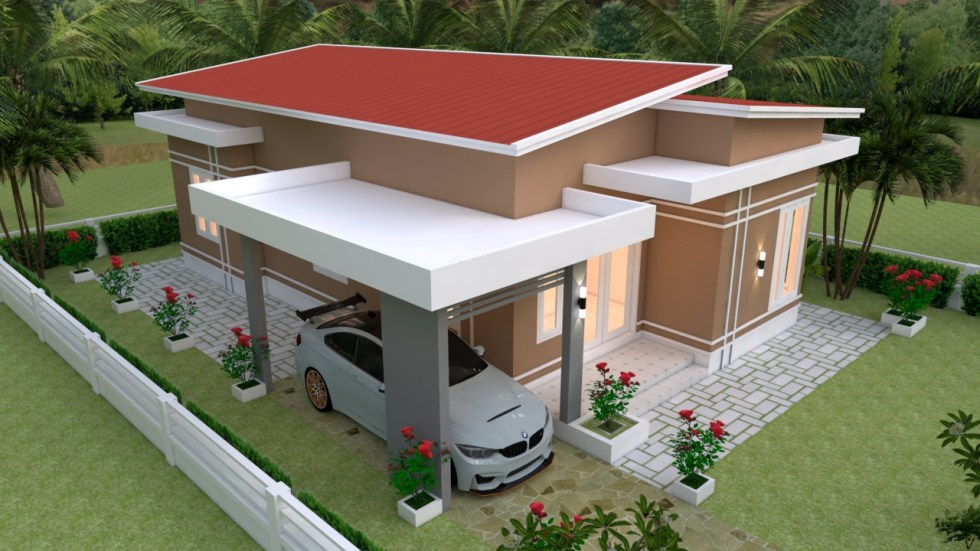 House Plans 9x12 with 3 bedrooms roof tiles roof view