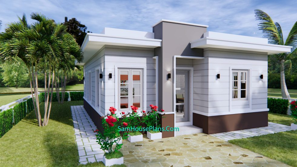 House Plans 7x10 with 3 Bedrooms with terrace roof front