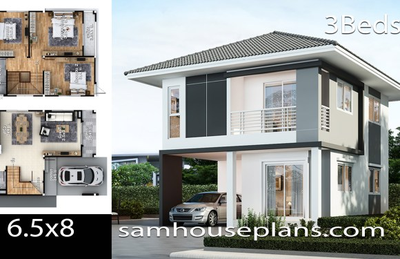 House Plans Idea 6.5×8 with 3 bedrooms