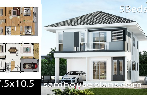 House Plans Idea 7.5×10.5 with 5 bedrooms