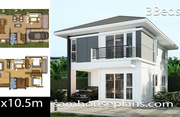 House Plans Idea 7×10.5 with 3 bedrooms