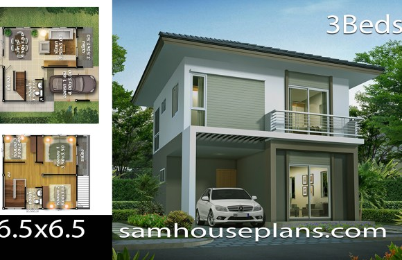 House plans 6.5×6.5 with 3 bedroom