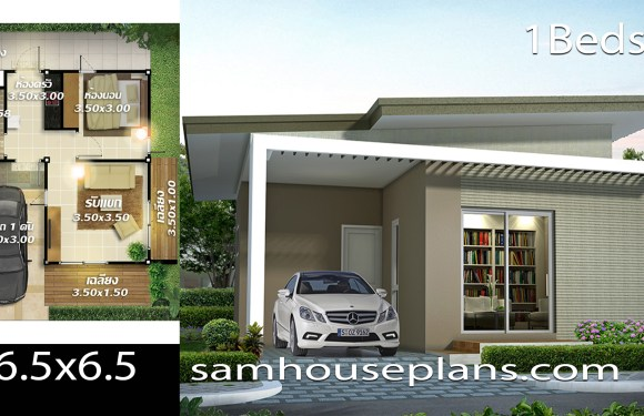 House plans idea 6.5×6.5 with 1 bedrooms