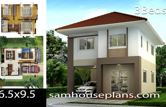 House plans idea 6.5×9.5 with 3 bedrooms