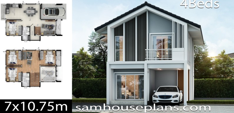 House plans idea 7×10.75 with 4 bedrooms