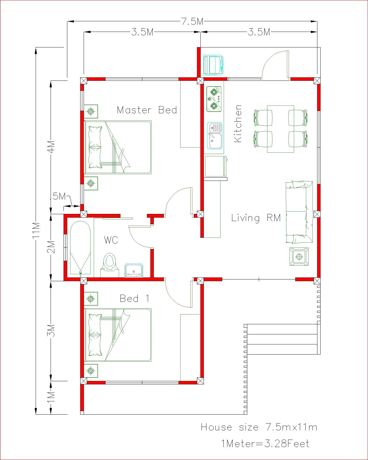 Small House Plans 7.5x11 with 2 Beds Full plans