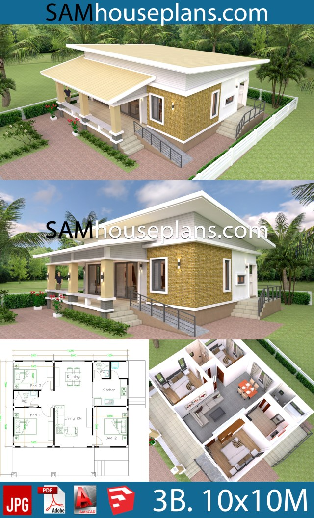 10x10 Room Design: House Plans 10x10 With 3 Bedrooms Full Interior