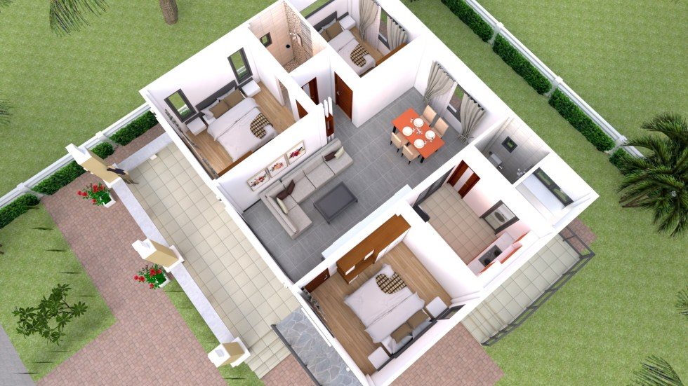 Small House Design 10x10 with 3 Bedrooms Hip Roof
