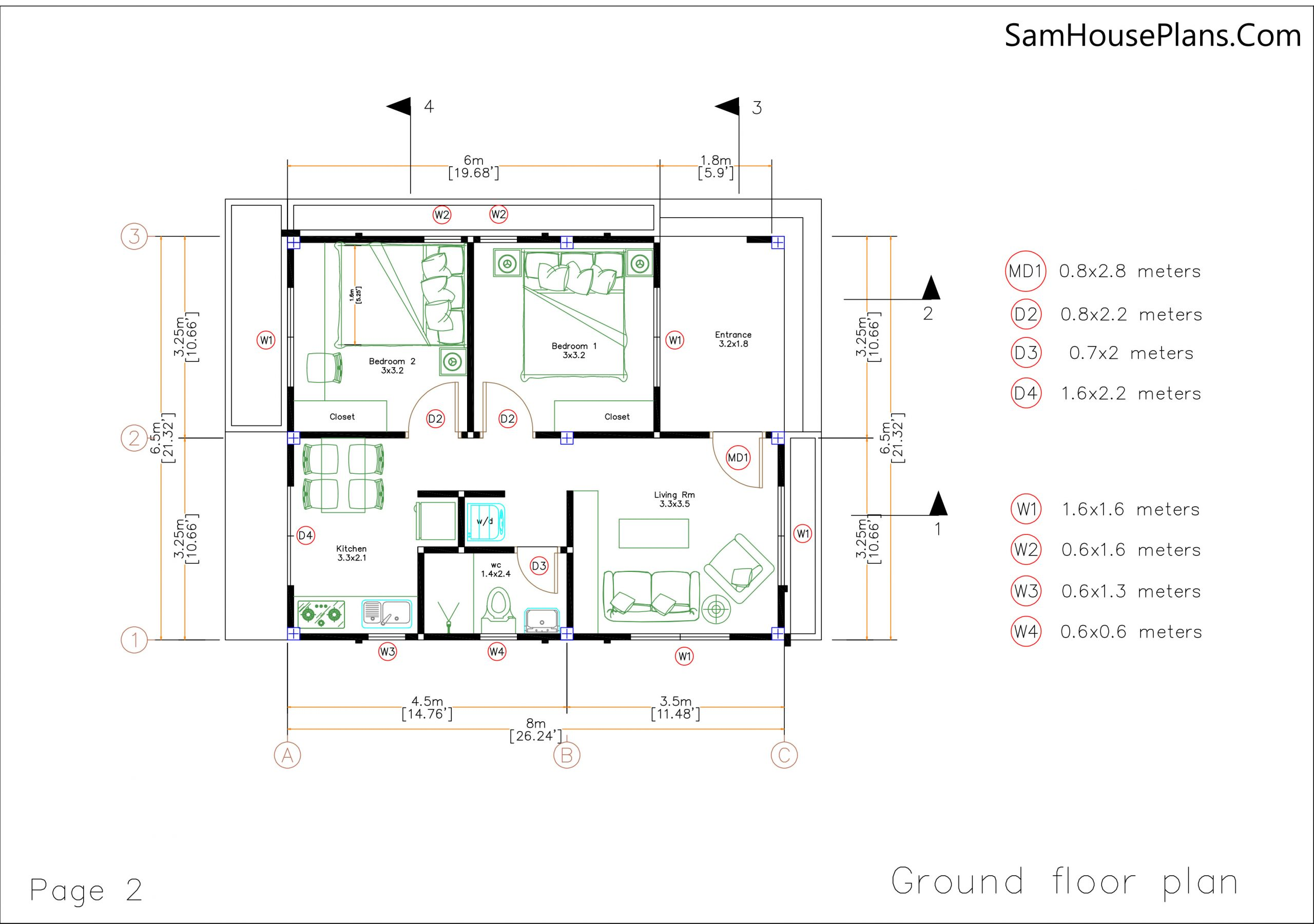 Small House Plans 6.5x8 with 2 Bedrooms Shed Roof ground floor plan