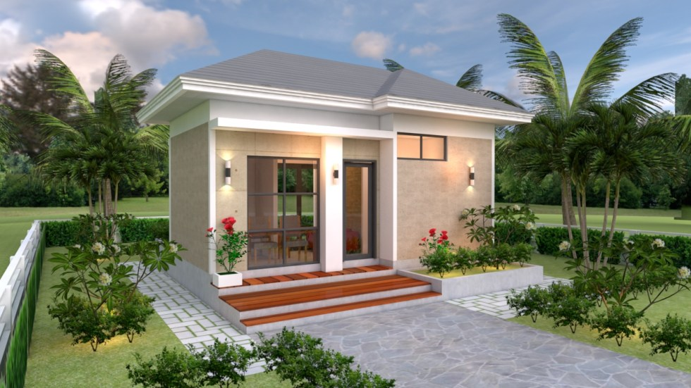 House Design Plans 5x7 with One Bedroom Hip Roof