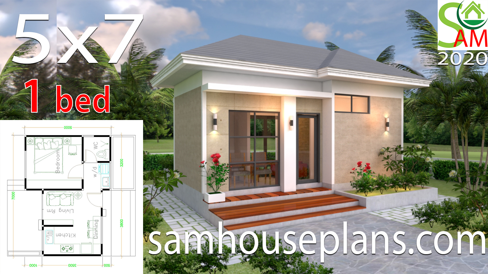 House Design Plans 5x7 With One Bedroom Hip Roof Samhouseplans