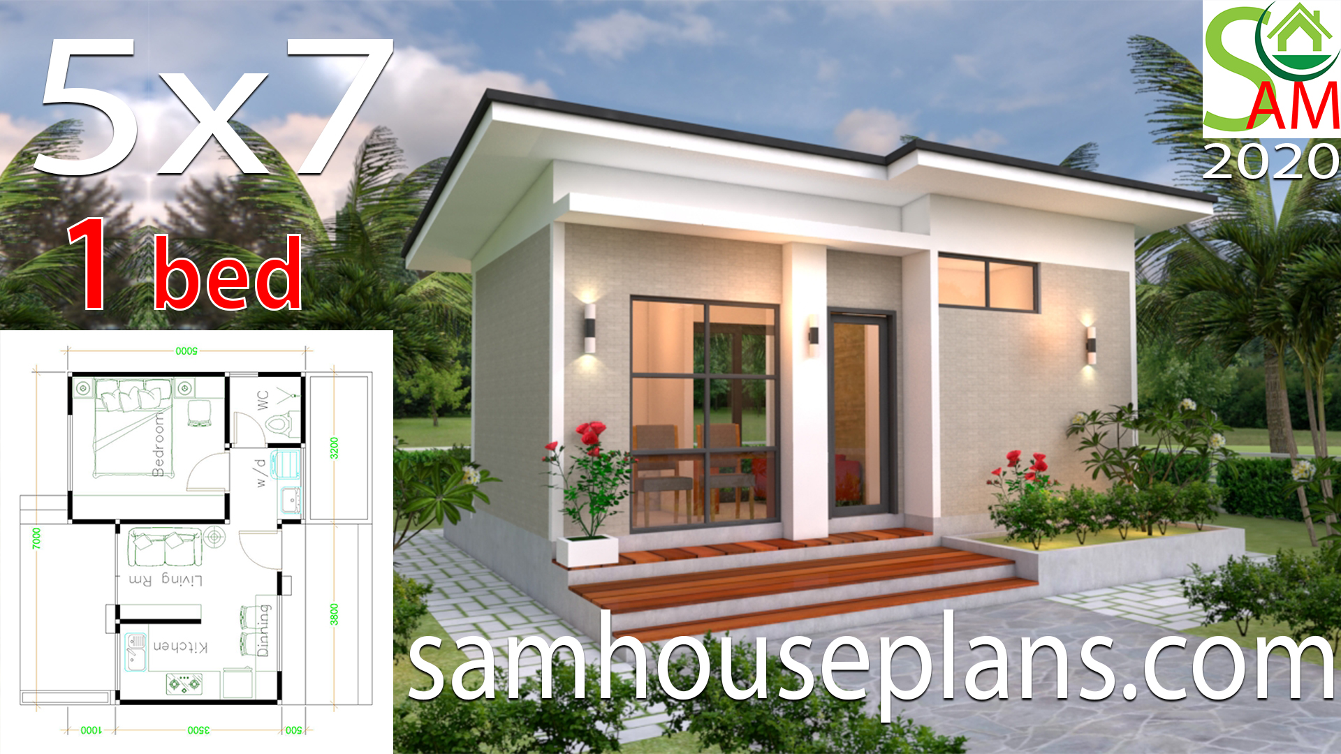 House Design Plans 5x7 With One Bedroom Shed Roof Samhouseplans