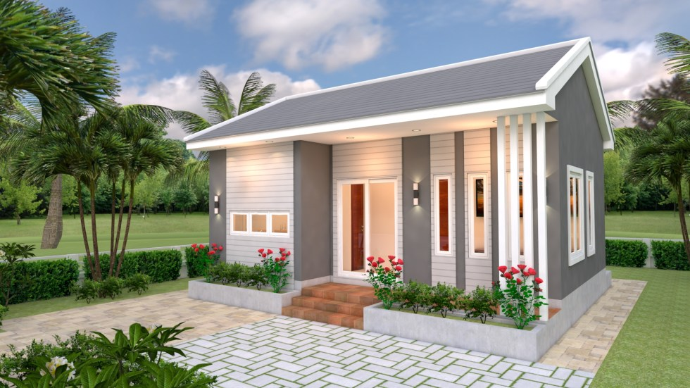 Small House Design Plans 8x6 with 2 Bedrooms Gable roof