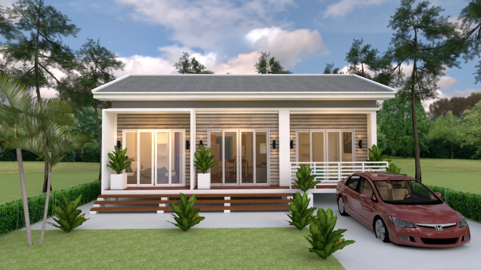 Small House Plans 10x8 with 3 Bedrooms Gable Roof