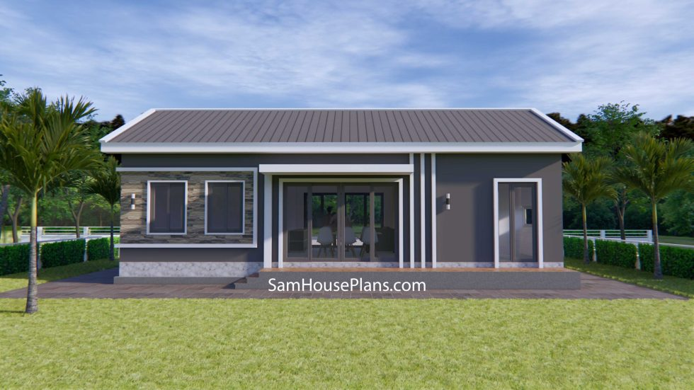 House Plans 12x8 with 3 Bedrooms Gable roof