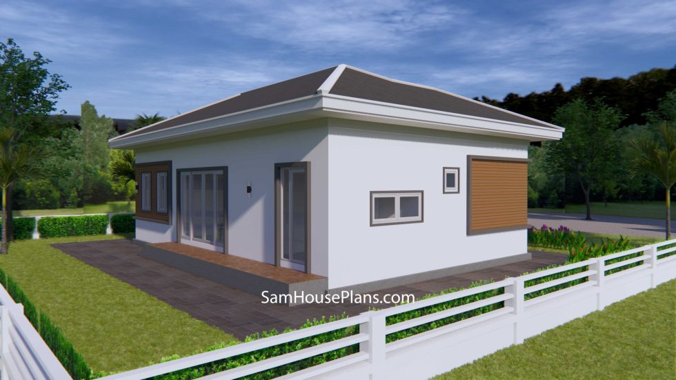 House Plans 12x8 with 3 Bedrooms Hip roof