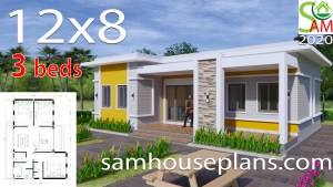 House Plans 12x8 with 3 Bedrooms Terrace roof