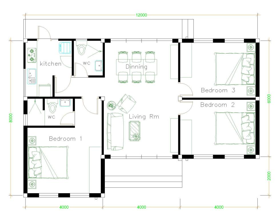 House Plans 12x8 with 3 Bedrooms Terrace roof floor plan