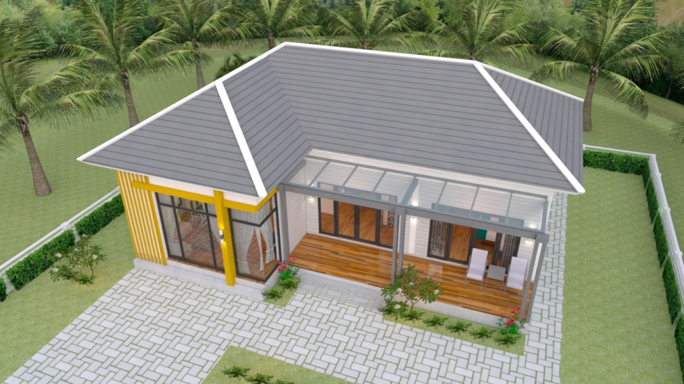 Small House Plans 13x9.5 with 2 Bedrooms Hip roof