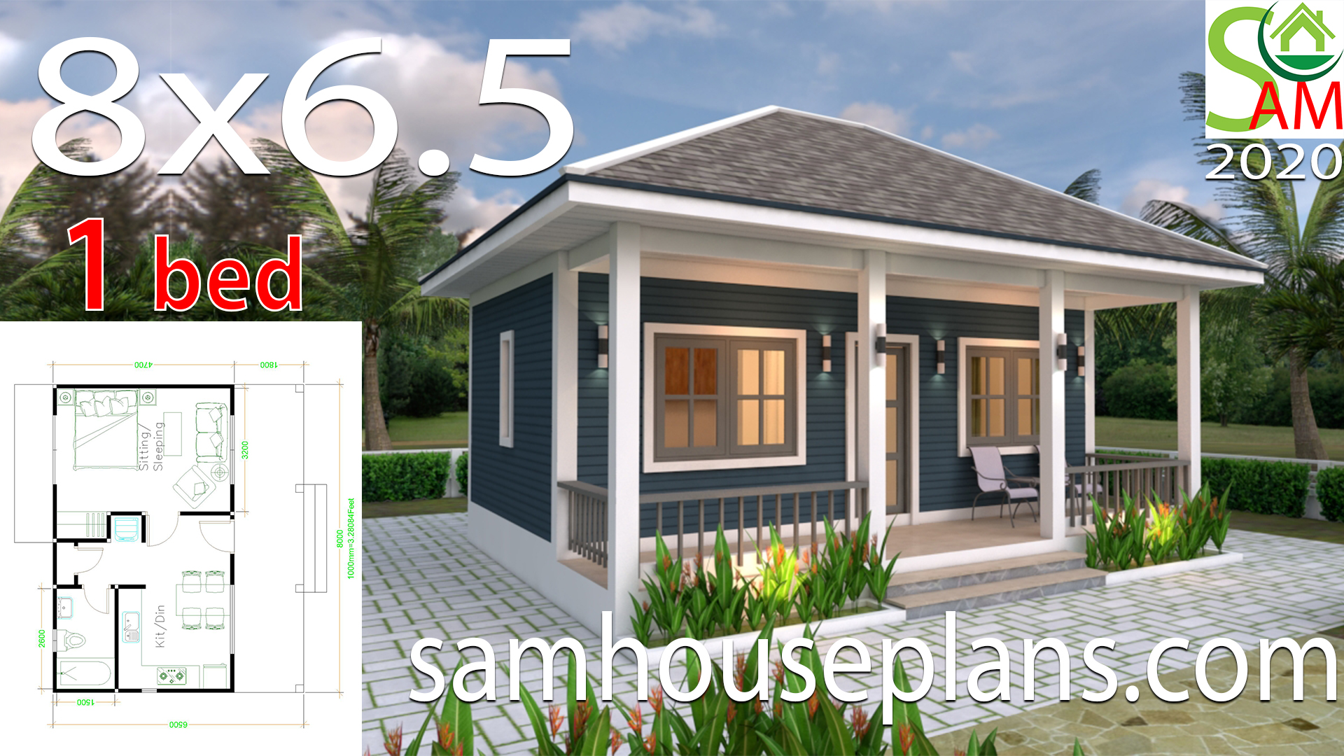 House Plans 8x6 5 With One Bedrooms Hip Roof Samhouseplans