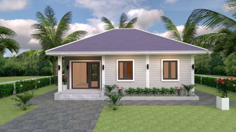 Small House Plans 9x7 with 2 Bedrooms Hip Roof