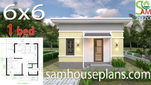 One Bedroom House Plans 6x6 with Shed Roof