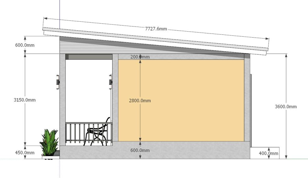 House Plans 8x6.5 with One Bedrooms Shed roof side elevation