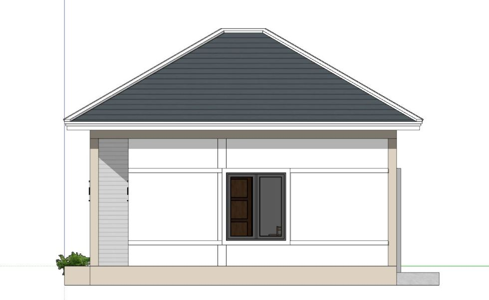Small House Plans 6x7 with 2 bedrooms Hip Roof