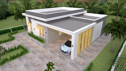 House Plans 12x11 with 3 Bedrooms Slap roof
