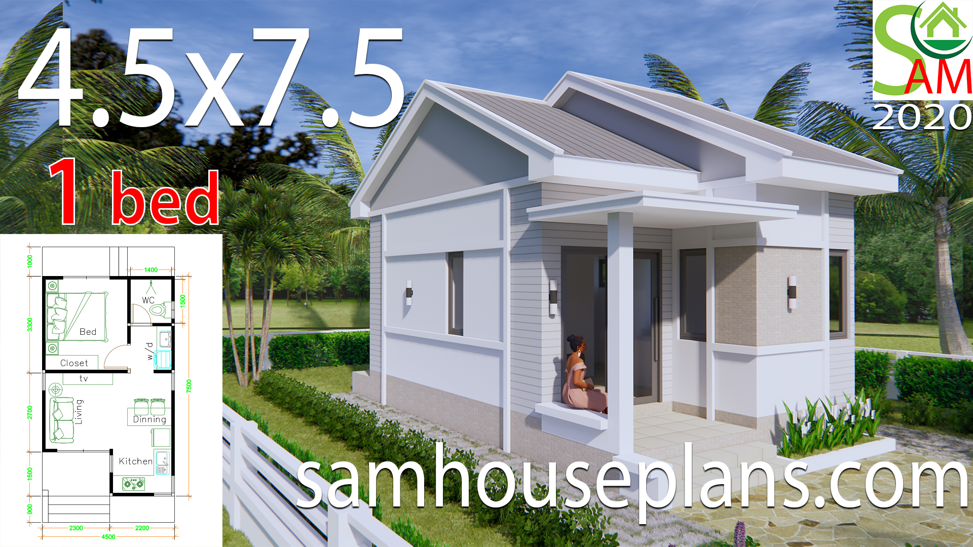 Small House Plans 4 5x7 5 With One Bedroom Gable Roof Samhouseplans