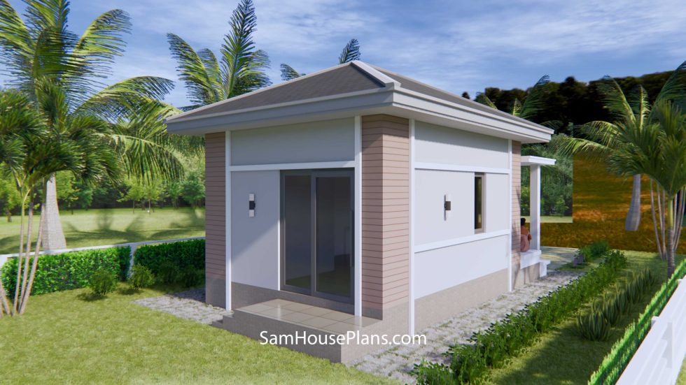 Small House Plans 4.5x7.5 with One Bedroom Hip roof
