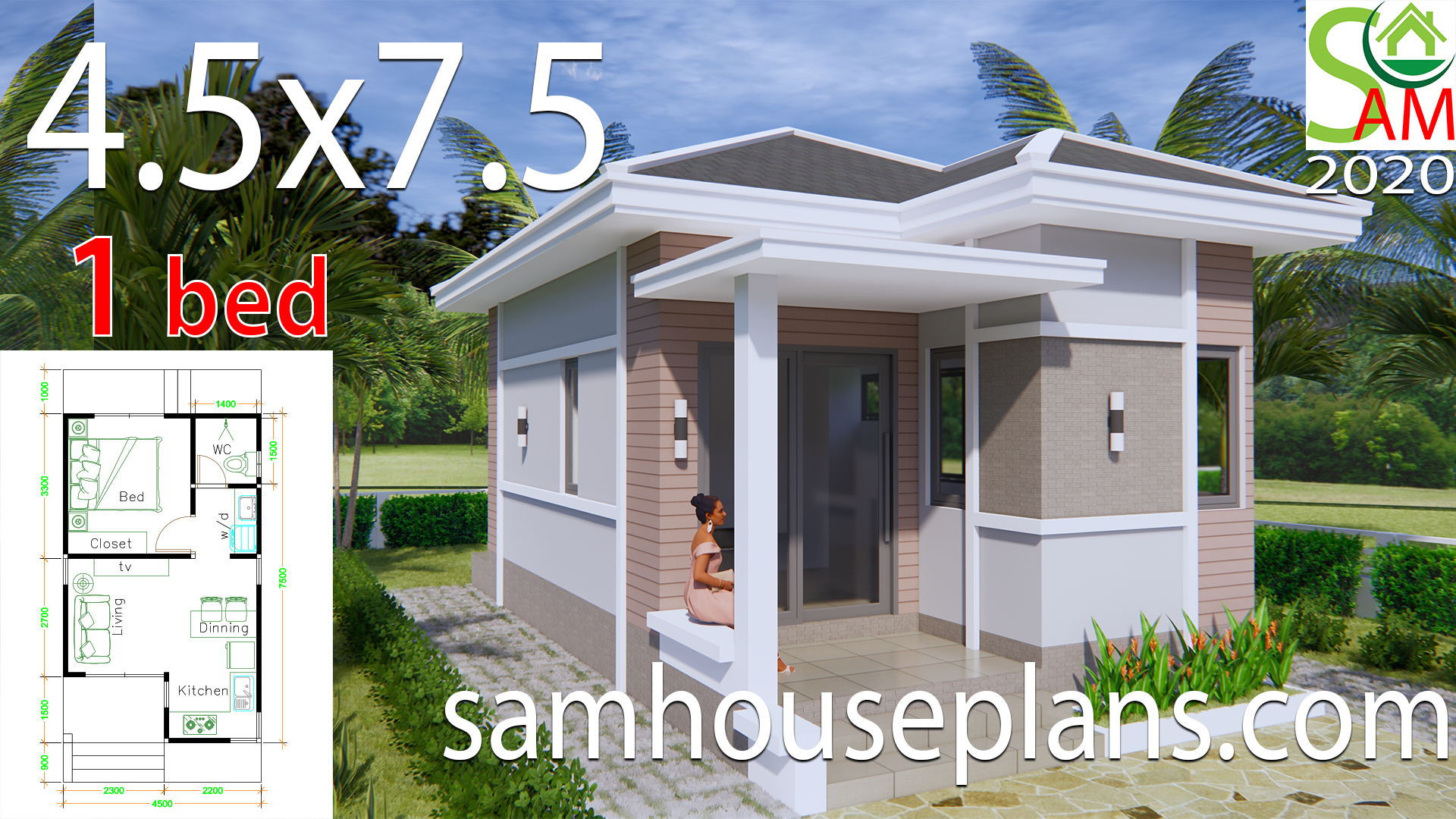 Small House Plans 4 5x7 5 With One Bedroom Hip Roof Sam House Plans