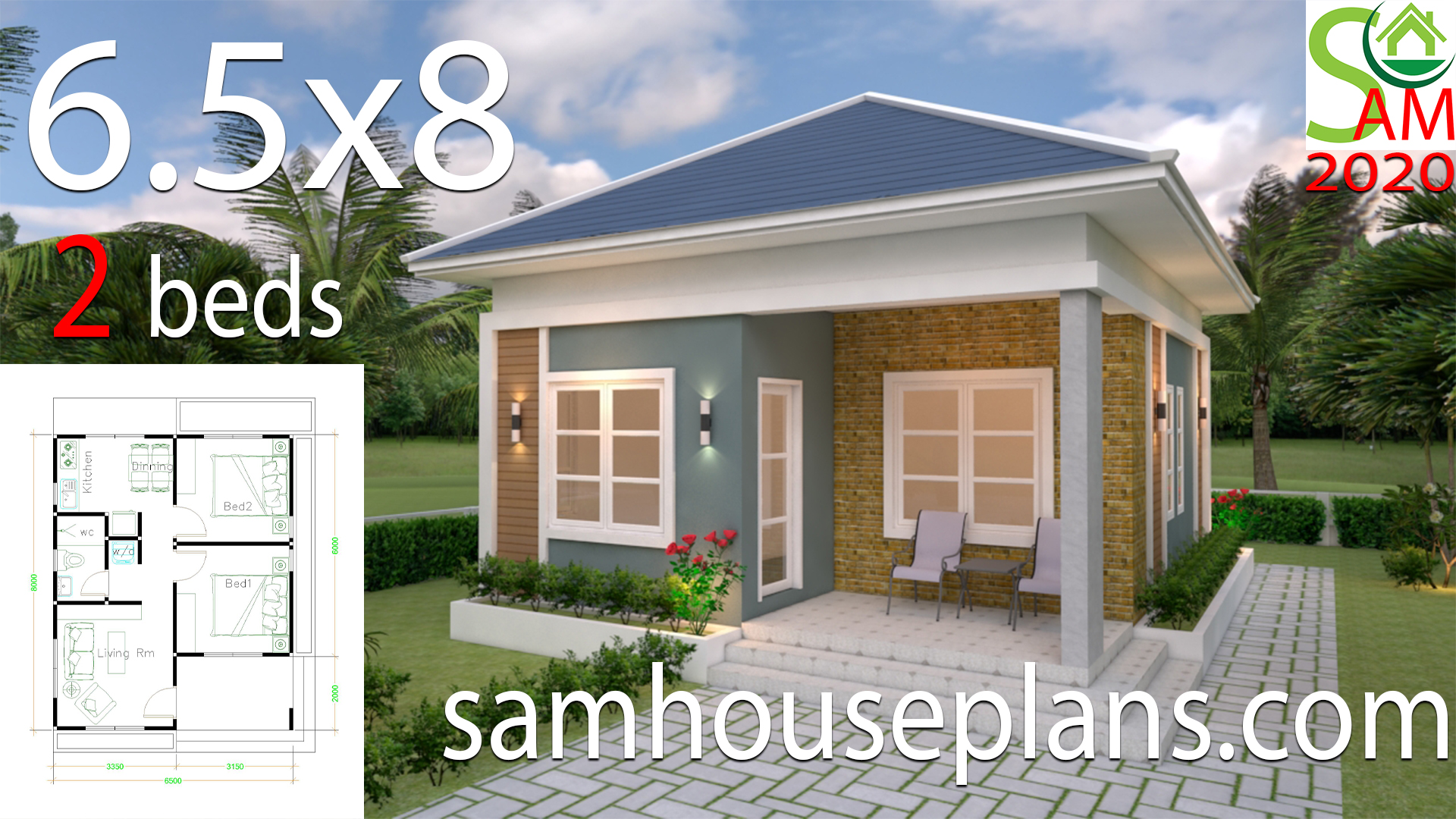 Small House Plans 6 5x8 With 2 Bedrooms Hip Roof Samhouseplans