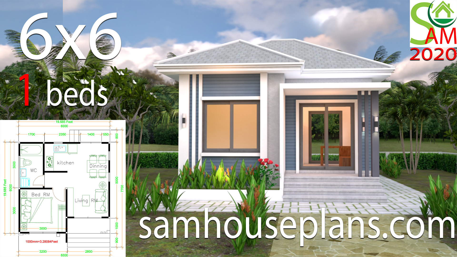 Small House Plans 6x6 With One Bedrooms Hip Roof Samhouseplans