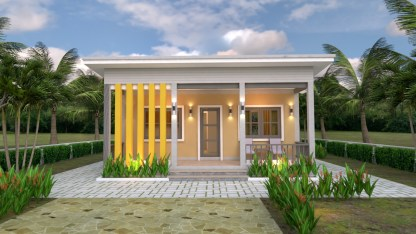 Small House Plans 8x6.5 with One Bedrooms Shed roof 2