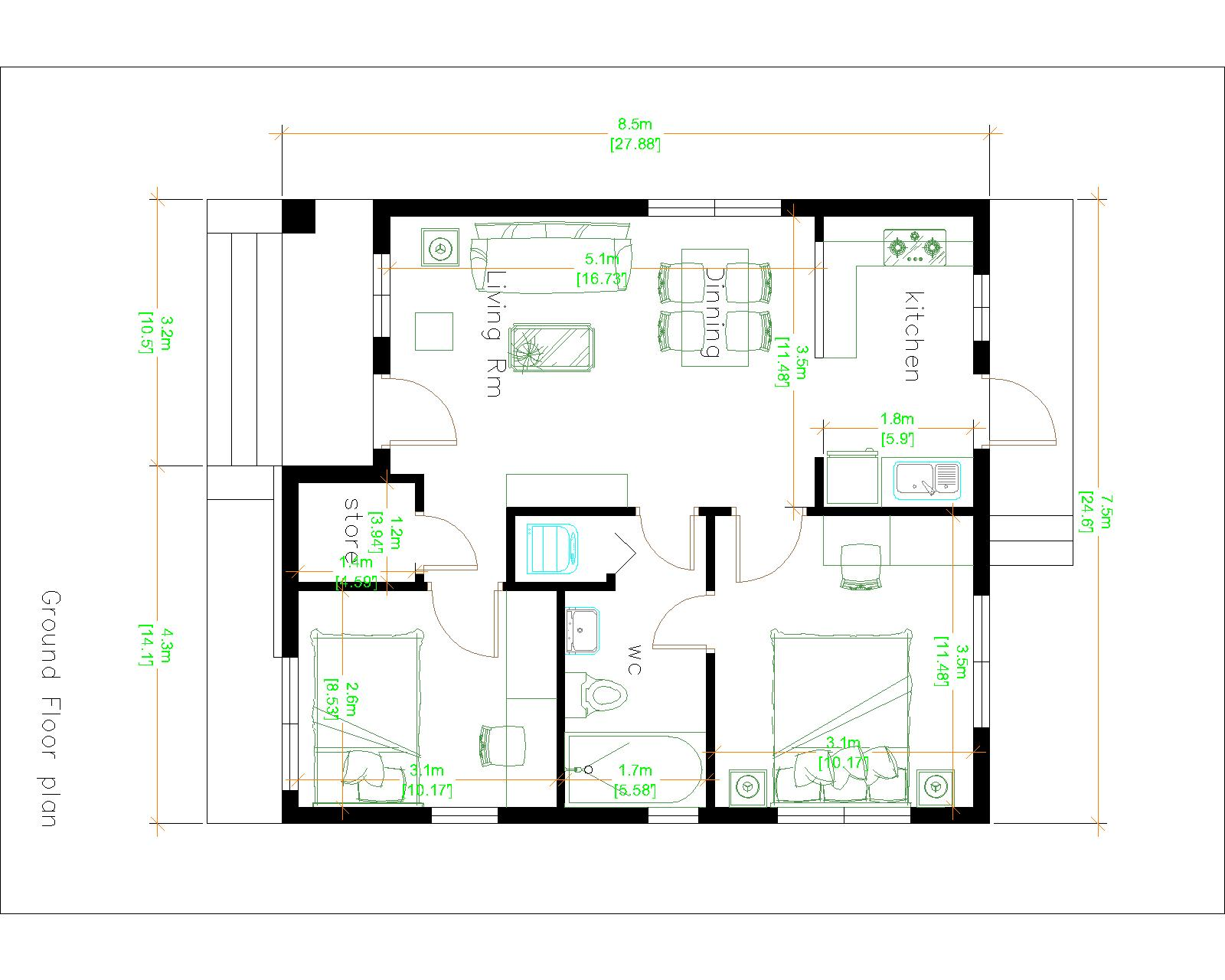 Small House design 7.5x8.5 with 2 beds hip roof