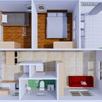 Small House Plans 6.5x8 with 2 Bedrooms Shed Roof top 3d
