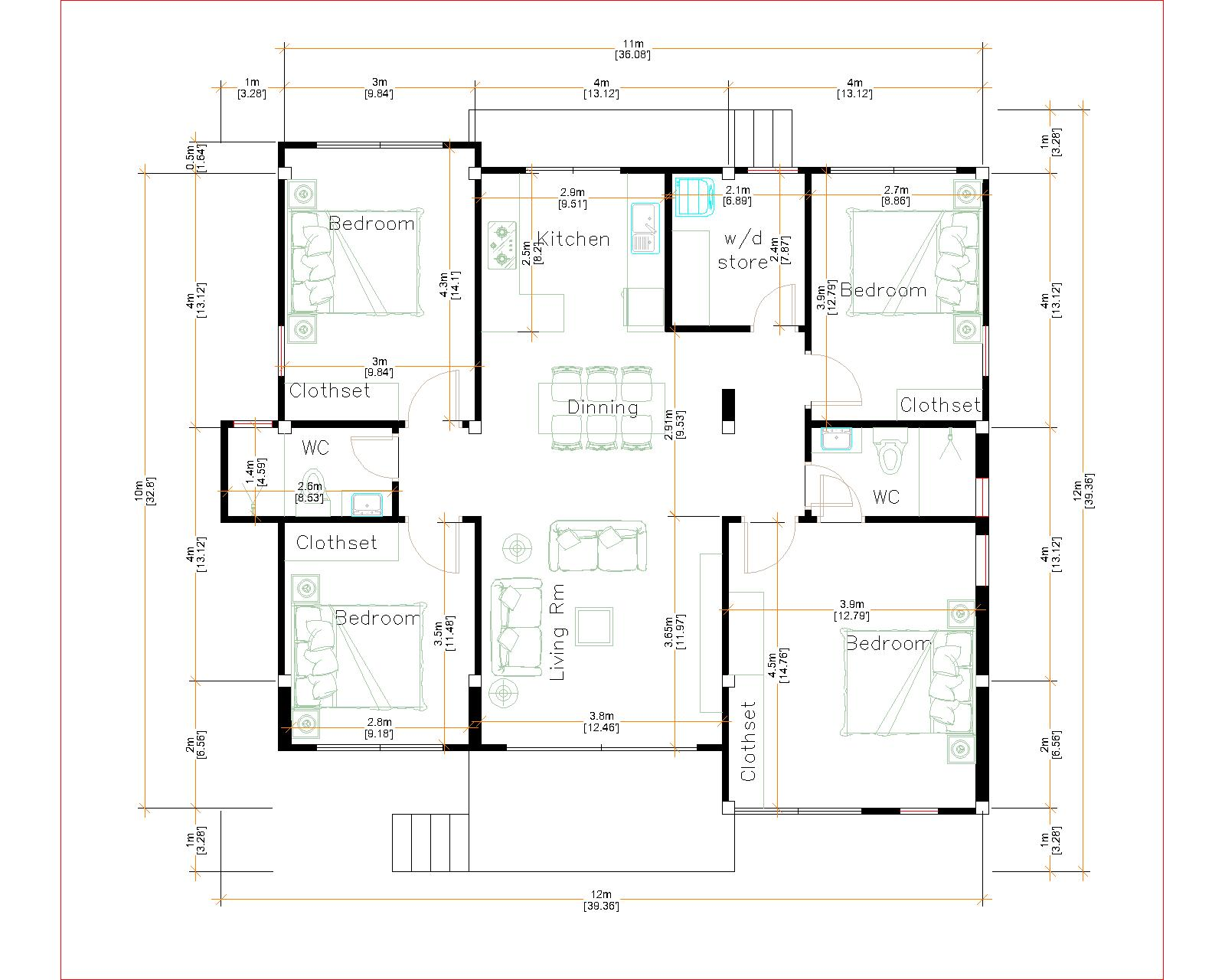 House Plans 12x12 Meter 4 Bedrooms Hip roof 40x40 Feet