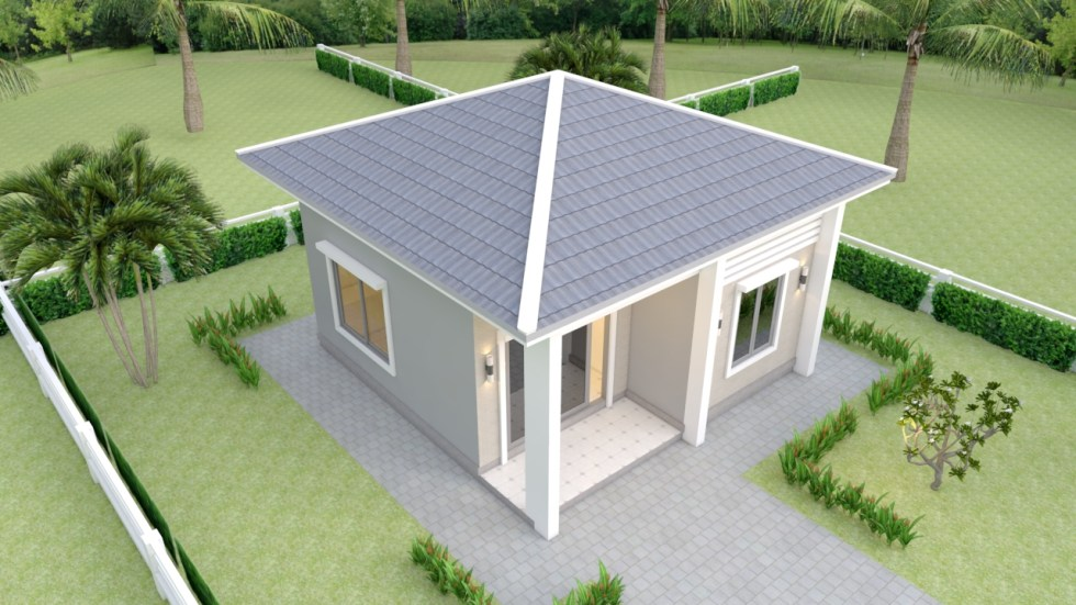 Small House Plans 21x21 Feet 6.5x6.5m Hip roof