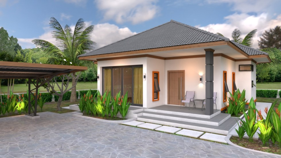 House Plans 10.7x10.5 with 2 Bedrooms Hip roof 35x34 feet front 3d view